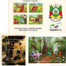 Sellos: LOTE DE 3 HOJAS BLOQUE NUEVAS DE BRASIL.. Lote 72302263