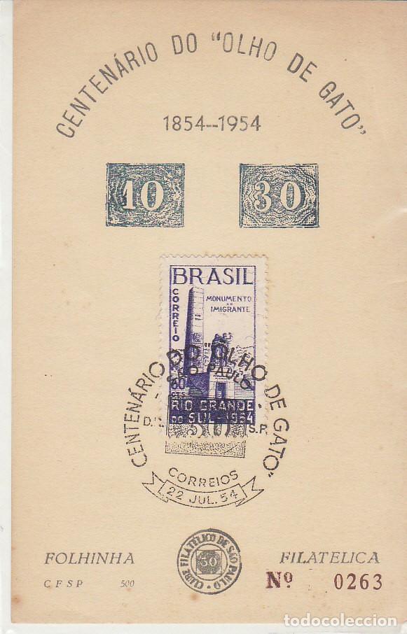 CENTENARIO DE OJO DE GATO- 1854-1954. (Sellos - Extranjero - América - Brasil)
