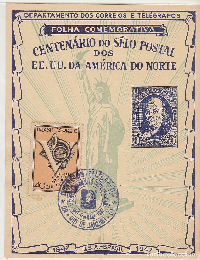 CENTENARIO DEL SELLO DE EE.UU. 1847-1947 . (Sellos - Extranjero - América - Brasil)
