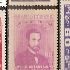 Sellos: BRASIL * & 100 AÑOS DE LA FUNDACIÓN DE LA CIUDAD DE TERESINA, JOSÉ ANTÓNIO SARAIVA 1952 (516). Lote 105684791