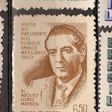 Sellos: BRASIL * & AEREO, VISITA DEL PRESIDENTE DO MEXICO, ADOLFO LOPEZ MATEOS 1960 (80). Lote 105686415
