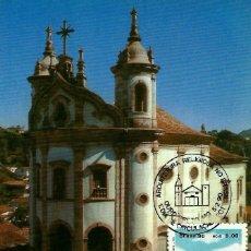 Sellos: BRASIL 1990-YV: 1952 [IGLESIA DEL ROSARIO] (TARJETA MÁXIMA). Lote 112469919