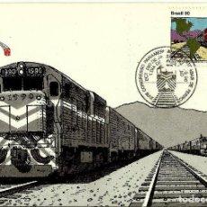 Sellos: BRASIL 1990-YV: 1978 [XVIII CONGRESO PANAMERICANO DE FERROCARRILES] (TARJETA MÁXIMA). Lote 112470379