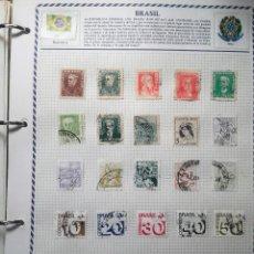 Sellos: BRASIL, 3 HOJAS CON 45 SELLOS USADOS CON CHARNELA DIFERENTES . Lote 118858247