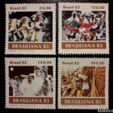 Sellos: BRASIL. YVERT 1584/7. SERIE COMPLETA NUEVA SIN CHARNELA. CARNAVAL. BAILES Y DANZAS.. Lote 136235244