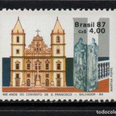 Sellos: BRASIL 1852** - AÑO 1987 - 4º CENTENARIO DEL CONVENTO SAN FRANCISCO DE SALVADOR. Lote 210065475