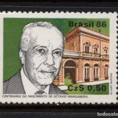 Sellos: BRASIL 1800** - AÑO 1986 - CENTENARIO DEL NACIMIENTO DE OCTAVIO MANGABEIRA. Lote 143164658