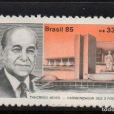 Sellos: BRASIL 1766** - AÑO 1985 - HOMENAJE AL PRESIDENTE TANCREDO NEVES. Lote 276537303