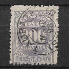 Sellos: BRASIL 1895 .1901 SC J26 B. WMK. 98 - 200R VIOLET USED - 4/43. Lote 147913934