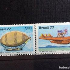 Sellos: BRASIL Nº YVERT 1283/4*** AÑO 1977. 75 ANIV. DIRIGIBLE PAX Y 50 ANIV. TRAVESIA ATLANTICO SUR. Lote 150172194