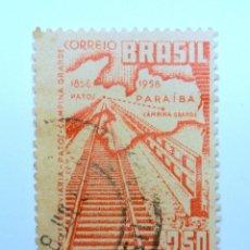 Sellos: SELLO POSTAL BRASIL 1959, 2,50 CR, MAPA Y VIAS DE TREN, CONMEMORATIVO, USADO. Lote 150856106