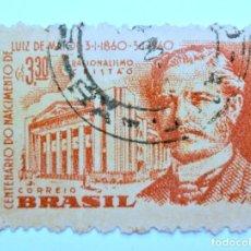 Sellos: SELLO POSTAL BRASIL 1960, 3,30 CR, LUIS DE MATOS, CONMEMORATIVO, USADO. Lote 150857142