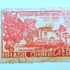 Sellos: SELLO POSTAL BRASIL 1950, 0,60 CR,75 AÑOS INMIGRACION ITALIANA RIO GRANDE DO SUL,CONMEMORATIVO,USADO. Lote 150860322