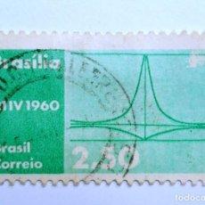 Sellos: SELLO POSTAL BRASIL 1960, 2,50 CR, PALACIO DEL PRESIDENTE DE LA MESETA, CONMEMORATIVO, USADO. Lote 150861850