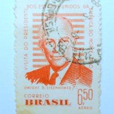 Sellos: SELLO POSTAL BRASIL 1960, 6,50 CR, DWIGHT DAVID EISENHOWER (1890-1969), CORREO AÉREO, USADO. Lote 150862330