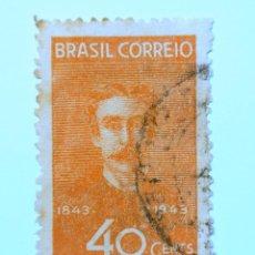 Sellos: SELLO POSTAL BRASIL 1943, 40 CENTS, CENTENARIO DEL PINTOR PEDRO AMERICO, CONMEMORATIVO, USADO. Lote 150862874