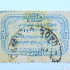 Sellos: SELLO POSTAL BRASIL 1936, 700 RS, CENTENARIO NACIMIENTO CARLOS GOMES, PARTITURA, CONMEMORATIVO USADO. Lote 150863402