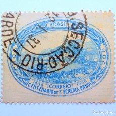 Sellos: SELLO POSTAL BRASIL 1936, 300 RS,CENTENARIO NACIMIENTO FRANCISCO PEREIRA PASSOS, CONMEMORATIVO,USADO. Lote 150864162