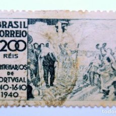Sellos: SELLO POSTAL BRASIL 1940, 1.200 RS, OCTAVO CENTENARIO INDEPENDENCIA DE PORTUGAL, CONMEMORATIVO,USADO. Lote 150876774