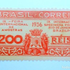 Sellos: SELLO POSTAL BRASIL 1936, 200 RS, 9TH EXPOSITION RJ, SIN USAR. Lote 150884506