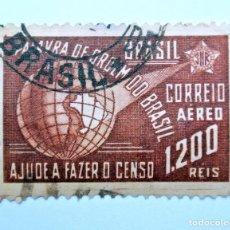 Sellos: SELLO POSTAL BRASIL 1941, 1200 RS, QUINTO CENSO NACIONAL, CORREO AÉREO, USADO. Lote 150886742