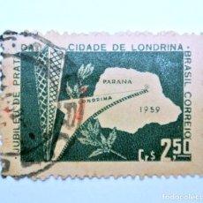 Sellos: SELLO POSTAL BRASIL 1959, 2,50 CR, LODRINA -PR , CONMEMORATIVO, USADO. Lote 150906530