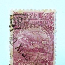 Sellos: SELLO POSTAL BRASIL 1929, 500 RS, AVION BIPPLANO SANTOS DUMONT'S BIPLANE 14 BIS, CORREO AÉREO, USADO. Lote 150926938