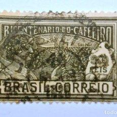 Sellos: SELLO POSTAL BRASIL 1928, 300 RS, SEGUNDO CENTENARIO DEL CAFE DE BRASIL, USADO. Lote 150929282