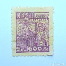 Sellos: SELLO POSTAL BRASIL 1941, 600 RS, SIDERURGIA, USADO. Lote 150931206