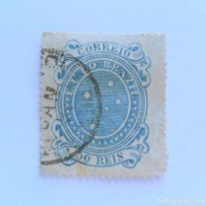 Sellos: SELLO POSTAL BRASIL 1890, 50 RS, SOUTHERN CROSS, RAREZA COLOR AZUL ..USADO. Lote 151023010