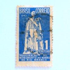 Sellos: SELLO POSTAL BRASIL 1944, 1 CR ,INAUGURACION DEL MONUMENTO A RIO BRANCO/RJ, CONMEMORATIVO, USADO. Lote 151044598