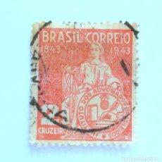 Sellos: SELLO POSTAL BRASIL 1943, 2 CR , CENTENARIO INSTITUTO DE ABOGADOS BRASILEÑOS,CONMEMORATIVO, USADO. Lote 151195690