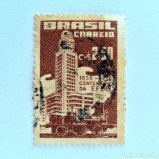 Sellos: SELLO POSTAL BRASIL 1958, 2,50 CR , CENTENARIO DE E. F.C.B. 1858-1958, CONMEMORATIVO, USADO. Lote 151197438
