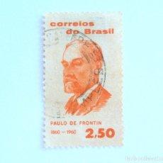 Sellos: SELLO POSTAL BRASIL 1960, 2,50 CR , CENTENARIO PAULO DE FRONTIN, USADO. Lote 151199318