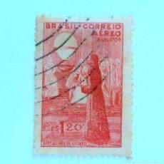 Sellos: SELLO POSTAL BRASIL 1944, 1,20 CR ,BARTOLOMEO DE GUSMÃO , USADO. Lote 151201990