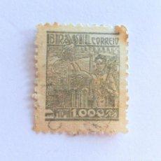 Sellos: SELLO POSTAL BRASIL 1942, 1,000 RS , SIDERURGIA, USADO. Lote 151221478