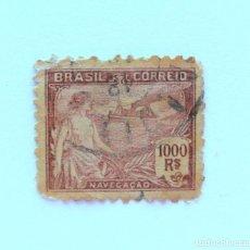 Sellos: SELLO POSTAL BRASIL 1921, 1000 RS, NAVEGACION , USADO. Lote 151233526