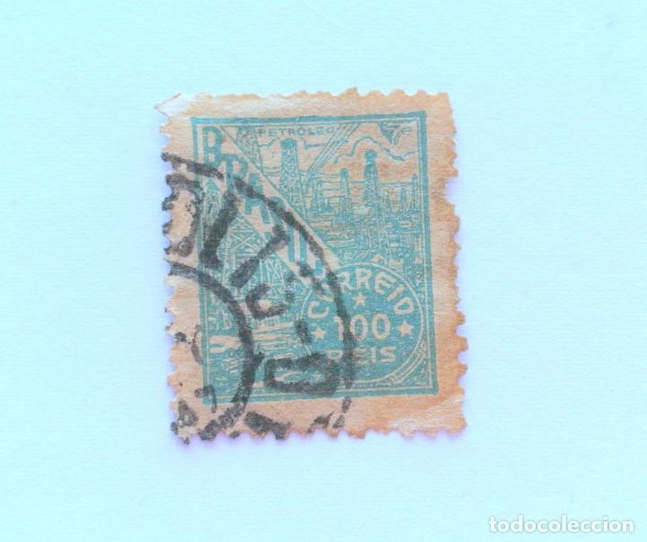 SELLO POSTAL BRASIL 1941, 100 RS, PETROLEO , USADO (Sellos - Extranjero - América - Brasil)