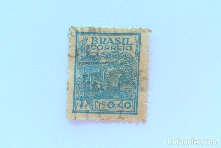 SELLO POSTAL BRASIL 1946, 0,40 CR, AGRICULTURA , USADO, MARCA DE AGUA MUY DIFICIL DE ENCONTRAR * (Sellos - Extranjero - América - Brasil)