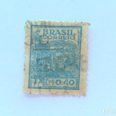 Sellos: SELLO POSTAL BRASIL 1946, 0,40 CR, AGRICULTURA , USADO, MARCA DE AGUA MUY DIFICIL DE ENCONTRAR. Lote 151309542