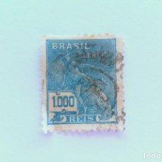 Sellos: SELLO POSTAL BRASIL 1931, 1,000 RS, MERCURIO Y GLOBO TERRAQUEO, USADO. Lote 151314478
