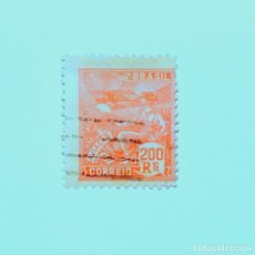Sellos: SELLO POSTAL BRASIL 1921, 200 RS, AVIACION, USADO. Lote 151341846