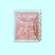 Sellos: SELLO POSTAL BRASIL 1920, 100 RS, AVIACION, ROJO, USADO. Lote 151342078