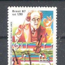 Sellos: BRASIL Nº 1828** CENTENARIO DEL NACIMIENTO DEL COMPOSITOR HEITOR VILLA-LOBOS. COMPLETA. Lote 155826906