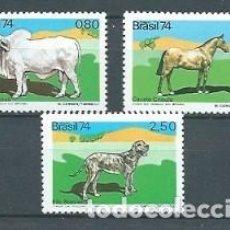 Sellos: BRASIL,1974,ANIMALES DOMÉSTICOS,YVERT 1123-1125,NUEVOS,MNH**. Lote 155887798