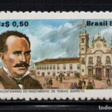 Sellos: BRASIL 1918** - AÑO 1989 - 150º ANIVERSARIO DEL NACIMIENTO DEL ESCRITOR TOBIAS BARRETO. Lote 276537518