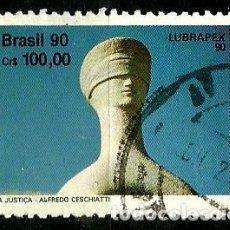 Sellos: BRASIL SCOTT: 2285 (LUBRAPEX'90-ESCULTURAS, ALFREDO CESCHIATTI) USADO. Lote 179184770