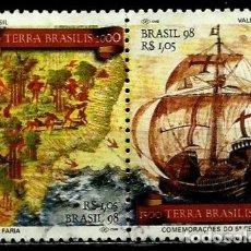 Sellos: BRASIL SCOTT: 2670/71 (UNIDOS) (500 ANIV. DEL DESCUBRIMIENTO DE BRASIL) USADO. Lote 179331886
