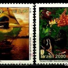 Sellos: BRASIL SCOTT: 2740A-F (RE-DESCUBRIMIENTO DE BRASIL - FAUNA Y FLORA RIQUEZA NACIONAL) USADO. Lote 179333290