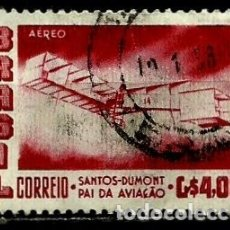 Sellos: BRASIL SCOTT: C84 (CORREO AEREO) (EL BIPLANO DE SANTOS DUMONT ''14 BIS'') USADO. Lote 179333366